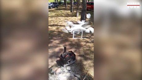 Drone ile mangal yaktılar