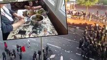 Bir tarafta protesto bir tarafta sarma dolma