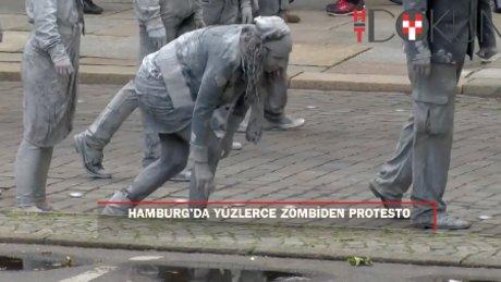 Hamburg'da yüzlerce zombiden G20 protestosu