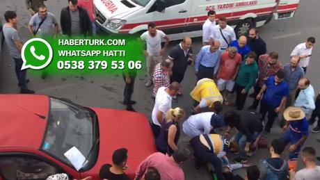 İstanbul Pendik'te 2 aracın karıştığı trafik kazası sonrası olay yerinden görüntüler