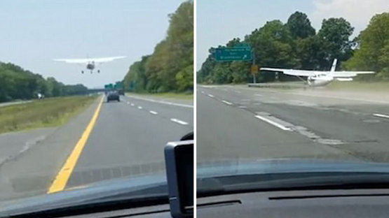 Uçak otoyola acil iniş yaptı