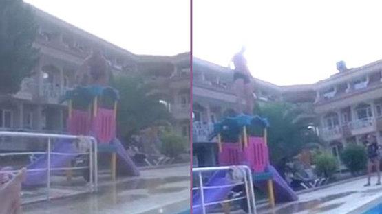 Havuza atlamaya çalıştı ama...