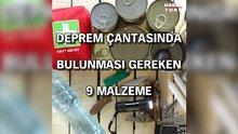 Deprem Çantasında Bulunması Gereken Malzemeler