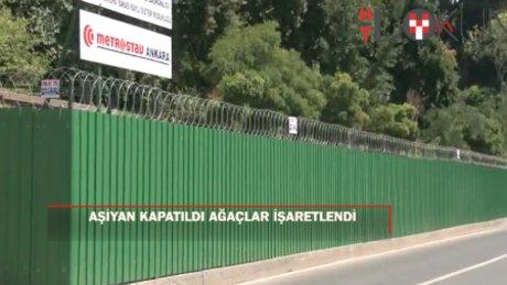 Aşiyan Parkı kapatıldı, ağaçlar işaretlendi