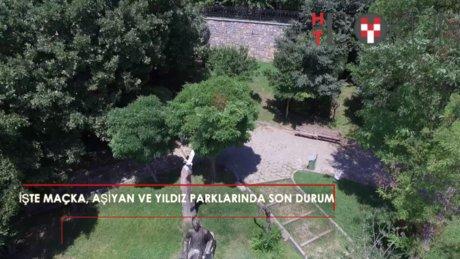 Kapatıldığı iddia edilen Aşiyan, Yıldız ve Maçka Parkı havadan görüntülendi