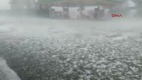 Edirne'de şiddetli dolu yağışı etkili oldu