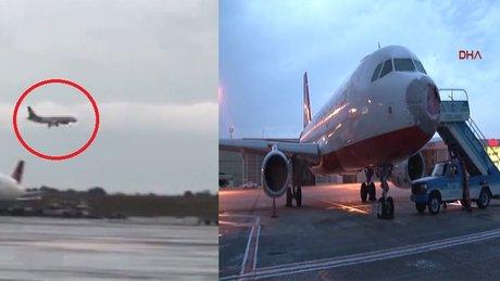 Dolu yağışıyla hasar gören uçak böyle iniş yaptı