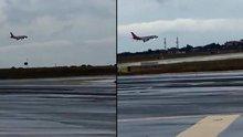 İstanbul'daki fırtına ve doludan zarar gören Atlasglobal uçağında korku dolu anlar