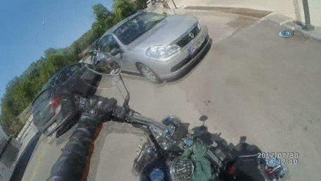 Nişanlı çiftin motosiklet kazası kask kamerasında