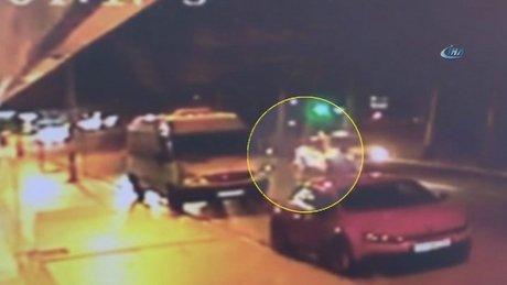 Şişli'de taksi yerde yatan kadını böyle ezdi
