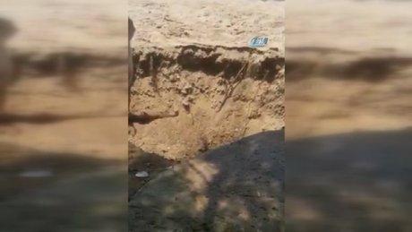 Depremin meydana geldiği Bodrum'da toprağın çökme anı kamerada