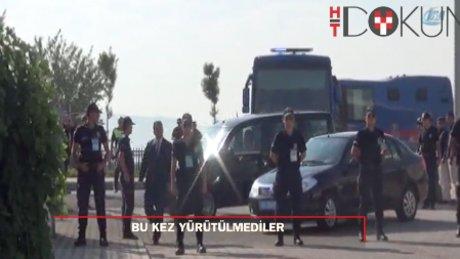 Daha önce yürüyerek getirilen sanıklar bu kez araçlarla alındı