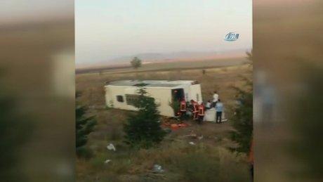 Ankara'da yolcu otobüsü şarampole uçtu, ölü ve yaralılar var