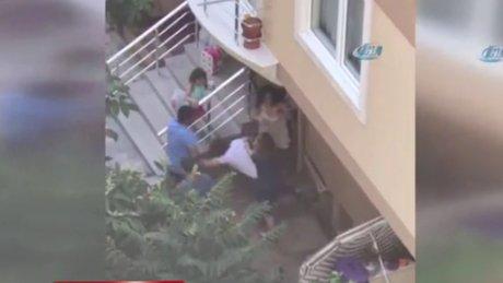 Ataşehir'de genç kıza karı-koca dayağı kamerada!