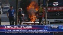 İstanbul Halkalı'da LPG'li bir araçta yangın çıktı