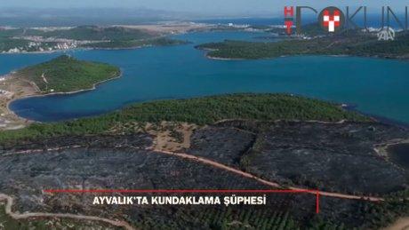 Ayvalık'taki orman yangınında zarar gören bölge, havadan görüntülendi