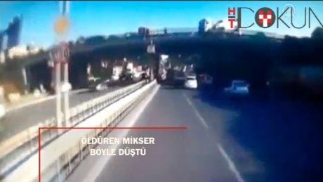 Öldüren beton mikserinin köprüden düşme anı kamerada
