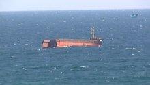 Sarıyer Kilyos açıklarında yük gemisi ortadan ikiye ayrıldı