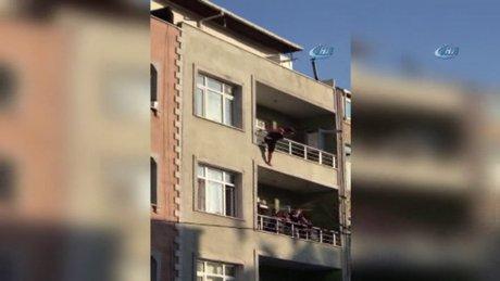 Psikolojisi bozulan kadın balkondan böyle atladı
