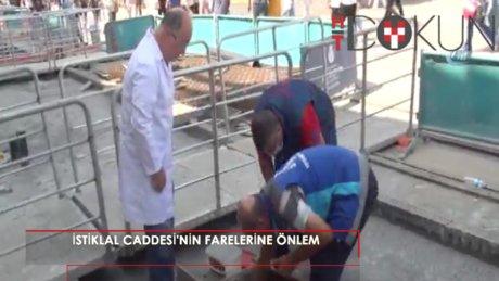 İstiklal Caddesi'ndeki fareler için ilaçlı önlem