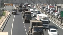 TEM'de askeri araç konvoyu