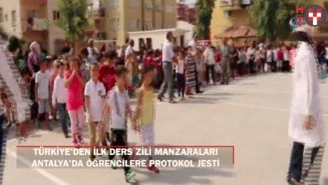 Okullar açıldı: Havadan görüntülerle okul trafiği!