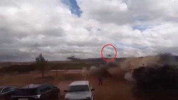 Rusya'daki tatbikatta helikopter otomobile ateş açtı