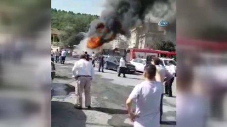 Sarıyer'de otoparkta otobüs yangını