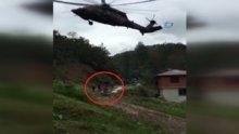 Heyelanda yaralanan anne askeri helikopterle kurtarıldı