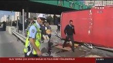 Bahçeşehir'de otobüs devrildi!