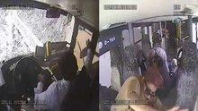 TEM Otoyolu Ispartakule Mevkii'nde devrilen iki katlı otobüsün içinde yaşananlar kamerada