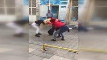 Malatya'da genç kızların saç saça baş başa kavgası kamerada