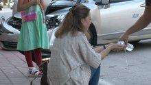 Kaza nedeniyle şoka giren kadın uzun süre gözyaşı döktü