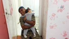 Görevden dönen asker baba ile minik kızının buluşması duygulandırdı