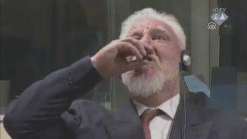 Eski Hırvat general Praljak'ın tüpten zehir içme anı