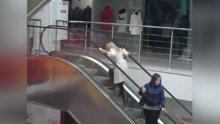 Yürüyen merdivenden tersine çıkmaya çalışan kadın