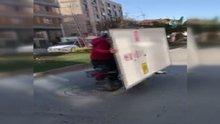 Motosiklet üzerinde demir plaka taşıdılar