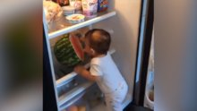 Sevimli bebeğin dolaptaki karpuzu yeme şekli