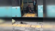 Otobüs şoförünün tinerci ile imtihanı kamerada