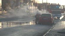 Seyir halindeki LPG'li araçta çıkan yangın paniğe neden oldu
