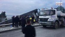Trabzon'da rampada bırakılan belediye otobüsü çocuk parkına düştü