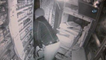Büfenin çevresine perde çeken hırsız, 1 saatte binlerce liralık malı çaldı