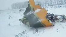 Moskova'da düşen uçağın enkaz görüntüleri ortaya çıktı