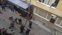 Şişli'de iki grup arasında tekme tokat kavga kamerada