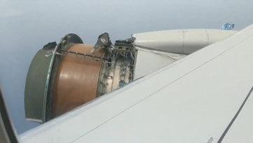 ABD'de uçağın motor kapağı havada koptu