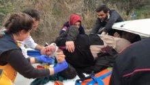 Yaralı kadına kaputun üstünde müdahale edildi