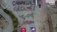"""Karslı öğrenciler """"Çanakkale Geçilmez"""" ve """"Afrin"""" koreografisi"""