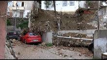 Beşiktaş'ta bir binanın istinat duvarı çöktü.