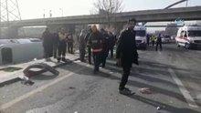 Başkent'te yolcu minibüsü devrildi: 15 yaralı