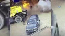 Yakıt deposu böyle patladı